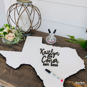 3D Texas Wedding Guest Book