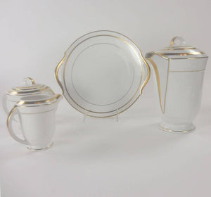 Limoges Mid-Century Modernist Gold Banded Porcelain Coffee Service