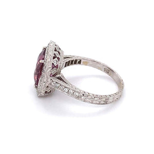 3.75 Carat Cushion Pink Sapphire and Diamond Gold Ring