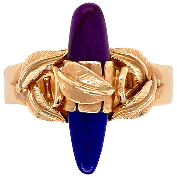 Lapis Lazuli and Sugilite Gold Cocktail Ring Estate Fine Jewelry