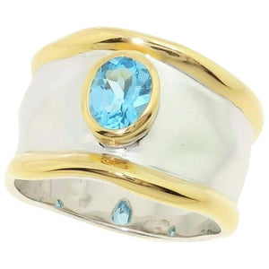 Striking Swiss Blue Topaz Solitaire Cocktail Sterling Silver Ring Fine Jewelry
