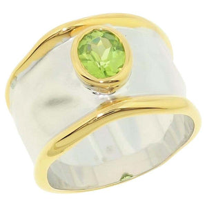 Striking Peridot Solitaire Cocktail Sterling Silver Ring Estate Fine Jewelry