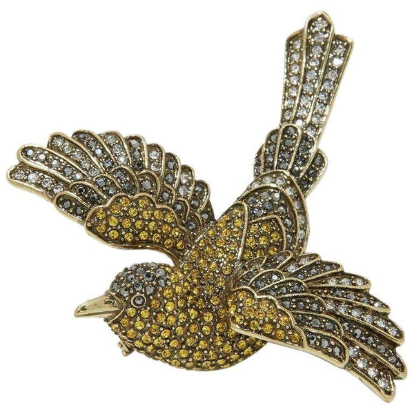 Heidi Daus Sparkling Swarovski Crystal Swallow Brooch Pin Estate Find