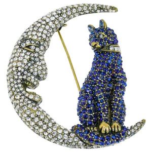 Heidi Daus Signed Swarovski Crystal Kitty Cat in the Moon Brooch Pin Estate