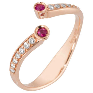 Diamond and Ruby Open Split Bypass Rose Gold Ring Estate Fine Jewelry