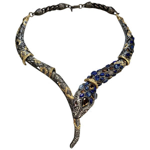 Jardin de Papillon by Alexis Bittar Snake Serpent Necklace Fine Estate Jewelry