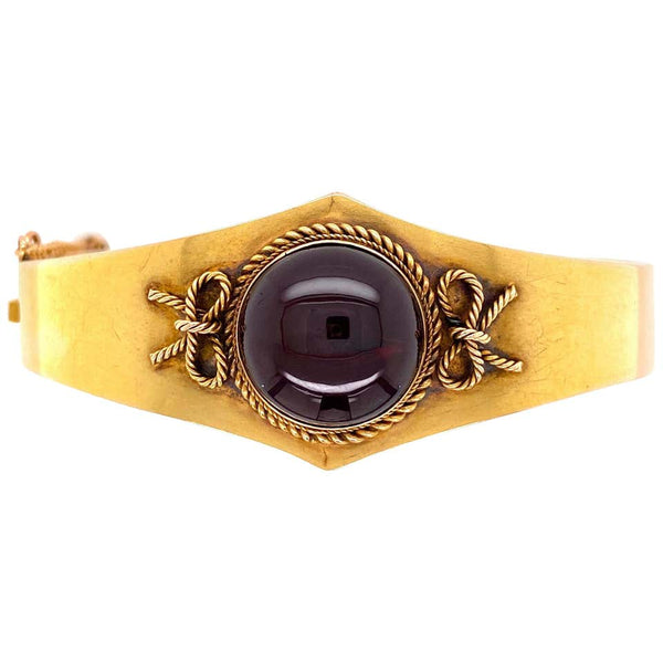 Victorian Garnet Gold Cuff Bangle Bracelet Estate Fine Jewelry