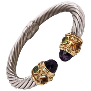 Jewelled Gold and Sterling Silver Bangle Cuff Bracelet Estate Fine Jewelry