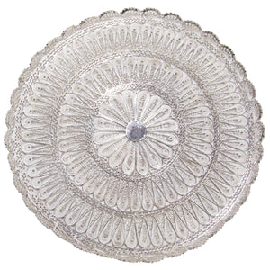 Circular Filigree Solid Silver Serving Tray