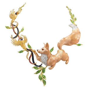 Fabled Fox and the Pheasants Diamond Emerald Ruby Sapphire Gold Necklace