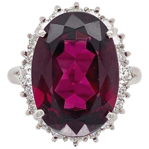 11.32 Carat Rhodolite Garnet Diamond Platinum Cocktail Ring Estate Fine Jewelry