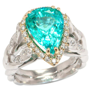 5.09 Carat Paraiba Tourmaline and Diamond Platinum Cocktail Ring