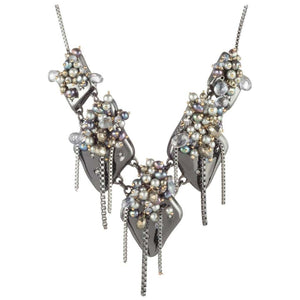 Stunning Peacock Pearl Cluster Necklace by Designer Alexis Bittar