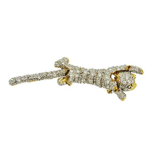 Striking Designer CZ Pave Cat Cheetah Articulated Brooch Pin