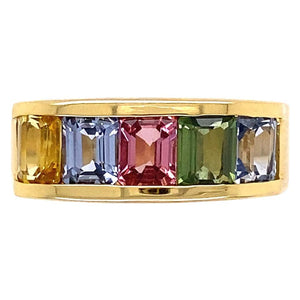 3.57 Carat Multi-Color Sapphire Rainbow Band Ring Estate Fine Jewelry