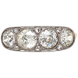 1.80 Carat Diamond Edwardian Platinum Ring Estate Fine Jewelry