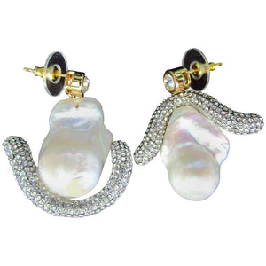 Genuine Freeform Pearl and Sparkling Ice Crystal Drop Earrings
