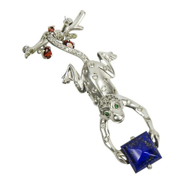 Swinging Monkey Sterling Silver Lapis Lazuli Brooch Pin