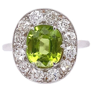 2 Carat Peridot and Diamond Art Deco Style Cocktail Ring Estate Fine Jewelry
