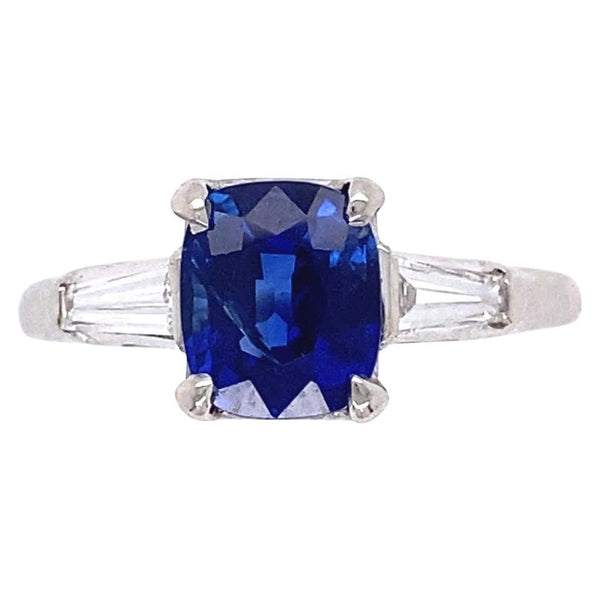 1.56 Carat No Heat Sapphire Diamond Platinum Cocktail Ring Estate Fine Jewelry