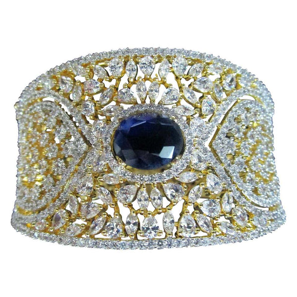 Awesome Blue Sapphire CZ and Sparkling Ice CZs Surround Cuff Bracelet