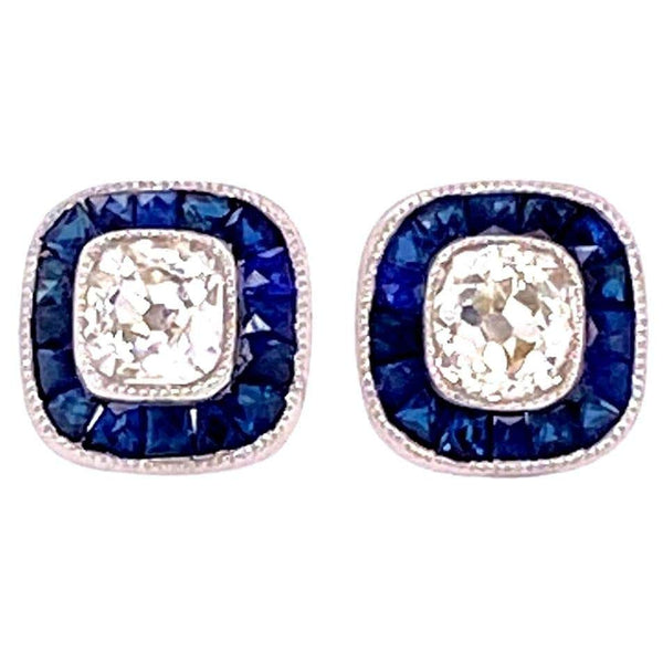Sapphire and Cushion-Cut Diamond Platinum Halo Stud Earrings Estate Fine Jewelry