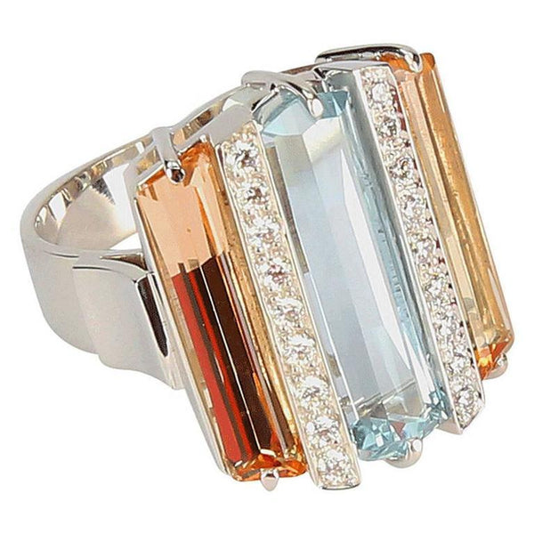 Coach House Aquamarine Topaz Diamond Gem Set Comet Gold Statement Ring