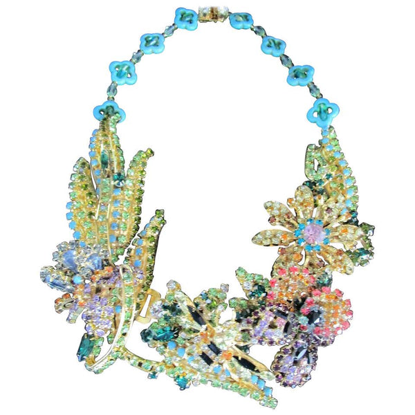 Designer Signed Ken Morrison Rare Vintage Crystal Bumble Bee Garden Necklace