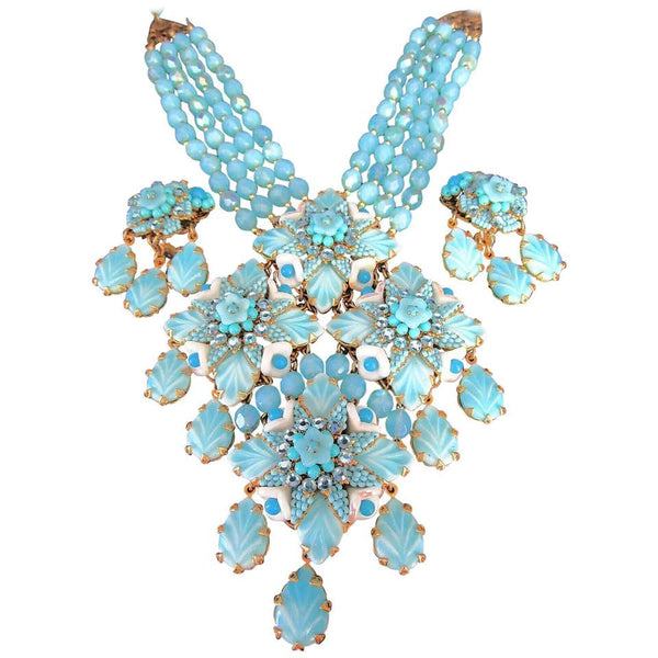 Designer Stanley Hagler Blue Glass Necklace and Earrings Estate Fine Jewelry