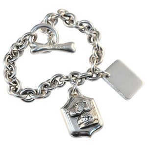 Barry Kieselstein Cord Signed Retriever Dog Tag Charm Sterling Silver Bracelet