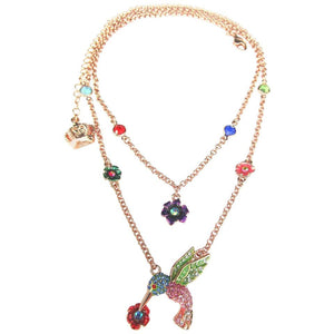 Designer Butler & Wilson of London Flower and Hummingbird Crystal Chain Necklace