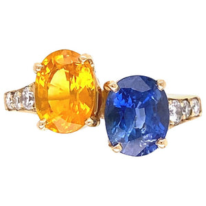 Blue and Yellow Sapphire Diamond Toi et Moi Gold Bypass Ring Estate Fine Jewelry