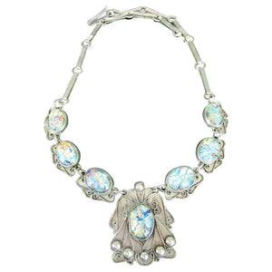Vintage Art Nouveau Designer Foil Set Opal Sterling Silver Necklace Mexico