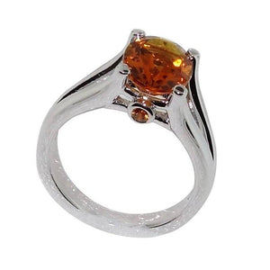 2.24 Carat Citrine Sapphire Silver Ring