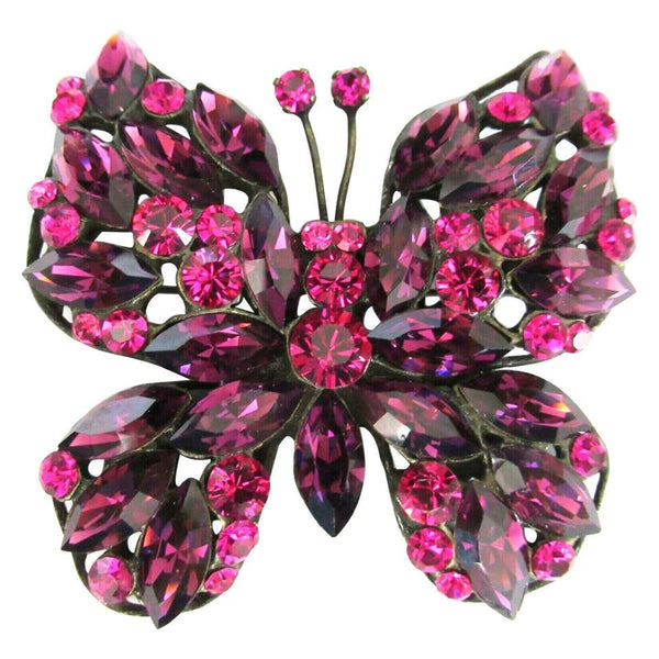 Signed Giorgio Armani Designer Pink and Purple Crystal Butterfly Brooch Pin