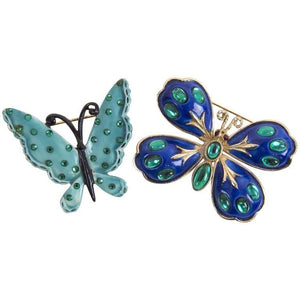 Signed HAR Blue Enamel and Turquoise Enamel Butterfly Brooch Pins