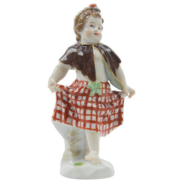 Meissen Porcelain Figurine of Cherub as Scottish Lass Dancing Germany