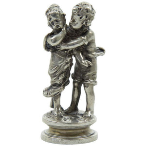 Silver Figurine Portraying a Boy Courting a Young Girl Germany