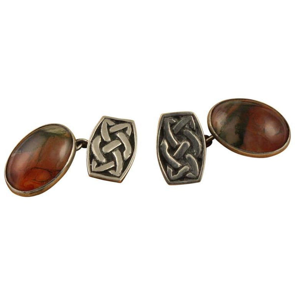 John Hart Scottish Agate Sterling Silver Cufflinks Original Box 1960s