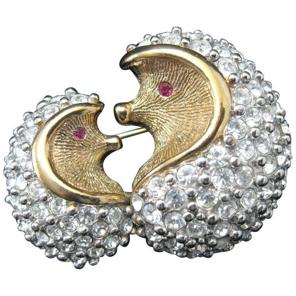 Delightful Mama and Baby Hedgehog Faux Diamond Statement Brooch Pin