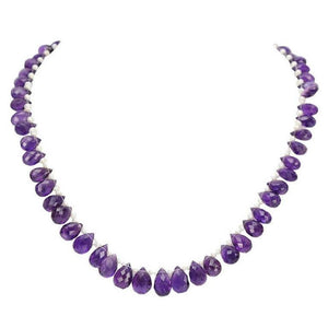 Stunning Briolette Amethyst Pearl Gold Necklace