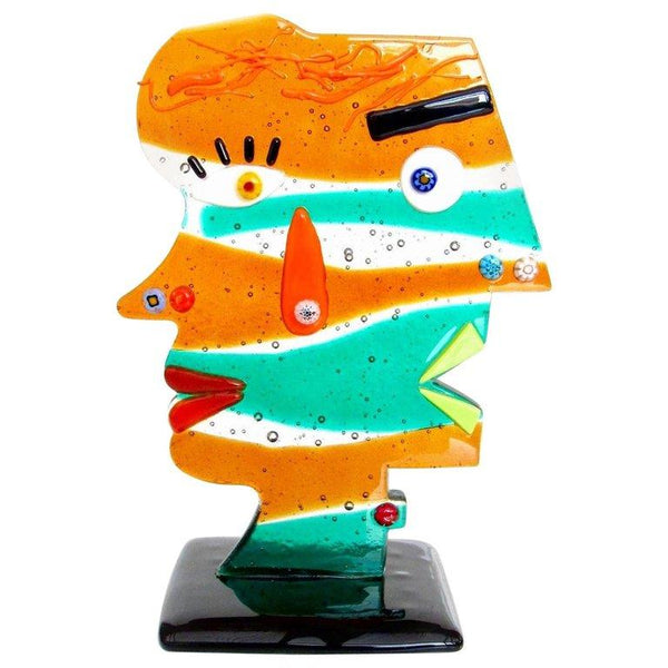 Murano Artist Signed Two Face Art Glass Sculpture Tribute to Picasso