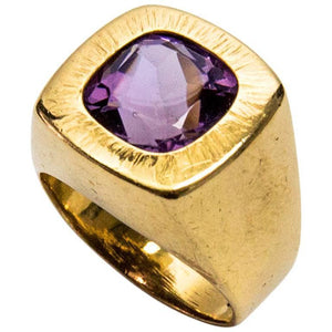 Awesome Cushion Cut Amethyst Gold Statement Ring
