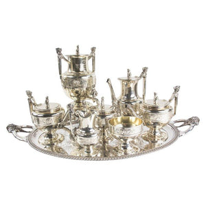 Rare Museum Quality Antique Gorham Silver 8-Piece Figural Coin Silver Tea Set