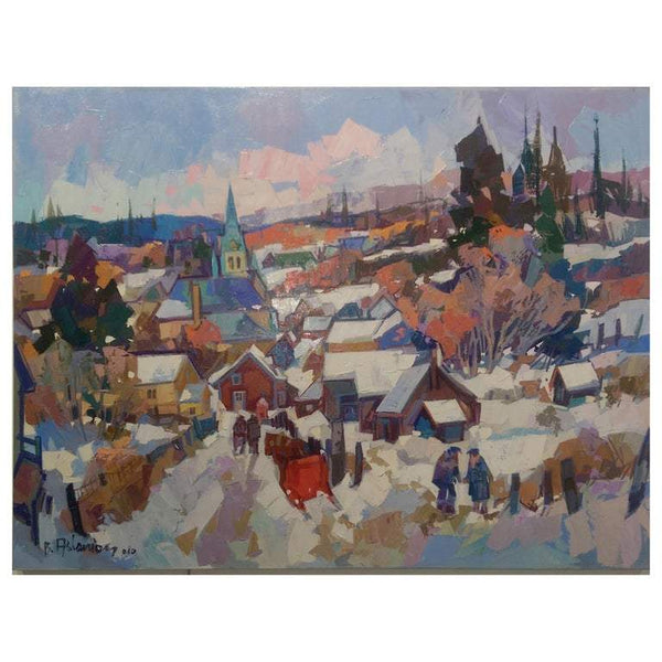 'L'Entre Du Village' Oil on Canvas Contemporary Painting Bedros Aslanian