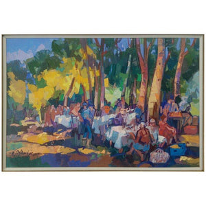'Le Picnic' Oil on Board Contemporary Painting by Bedros Aslanian Artist