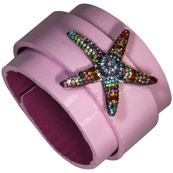 Sterling Silver CZ Starfish on Leather Cuff Bracelet
