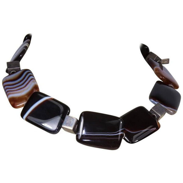 Banded Agate Sterling Silver Statement Necklace