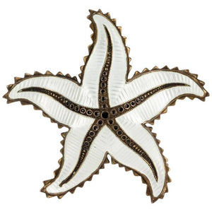Ivar Holth White Enamel Sterling Silver Starfish Brooch Pin Norway