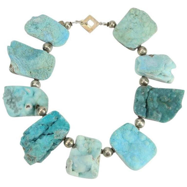 Natural Turquoise Druzy Quartz and Sterling Silver Necklace